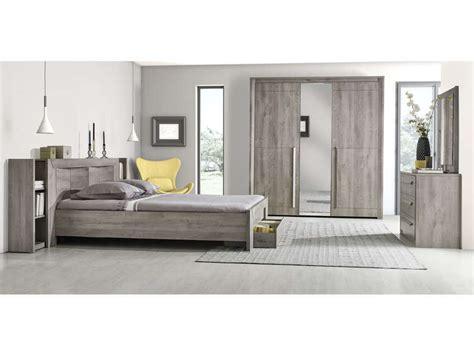environnement pour lit 160 cm coloris chêne gris