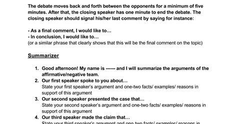 Speaker Debate Template debate speaker template docs