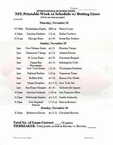 NFL Office Pool 2015: Printable Week 12 Schedule With Betting Lines For All Games