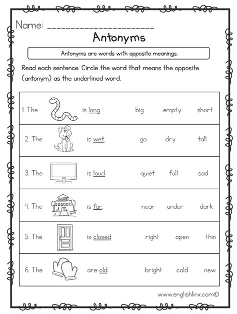 opposite antonyms worksheets great english tools