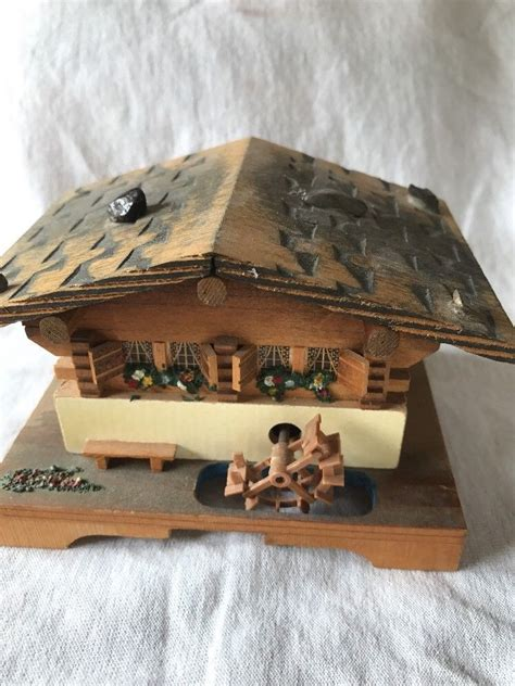 """Unique wi fi connectable juke boxes, non subscription nothing to pay for your new music etc updates fully licensed. Swiss Cottage Music Box Vintage 1960's Water Wheel 3.5"""" Working Condition 