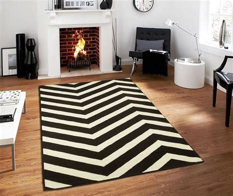 Large Chevron Black White Zig Zag Area Rugs Kitchen