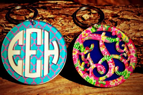 layered monogram key chain  capital letters