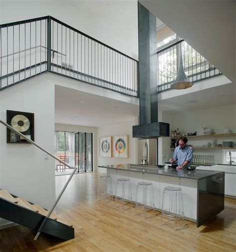 home   storey kitchen creates drama  mezzanine level
