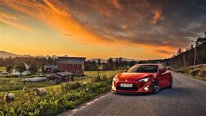 Toyota, Toyota GT86, GT86, Car, Sunset, Red Cars, Sheep