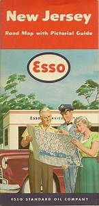 1953 Esso Standard Oil Road Map New Jersey Atlantic City