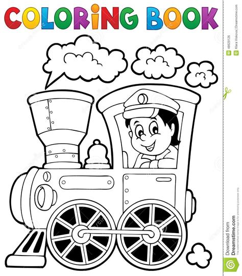 coloring book train theme  stock vector illustration