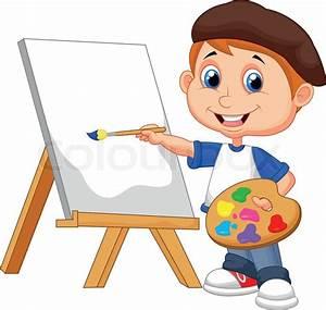 Vector illustration of Cartoon boy painting | Stock Vector ...