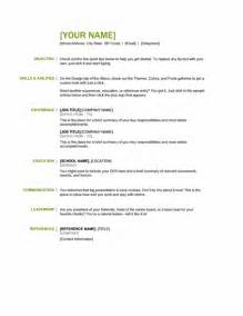 Generic Resume Template Exles by Generic Resume Template For All Professionals Formal Word Templates