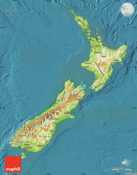 physical map   zealand satellite