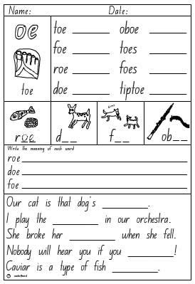 """Vowel Digraph """"oe"""", English Skills Online, Interactive Activity Lessons"""