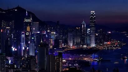 Night Lights Metropolis Hong Kong Background 4k