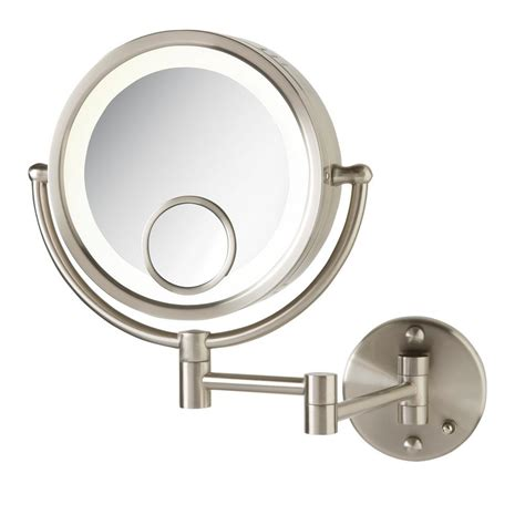 jerdon 11 in x 14 in lighted wall mirror in chrome