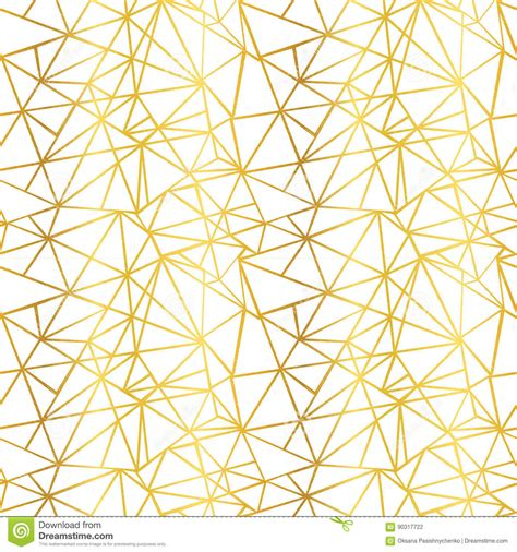 vector white and gold foil wire geometric mosaic triangles repeat seamless pattern background