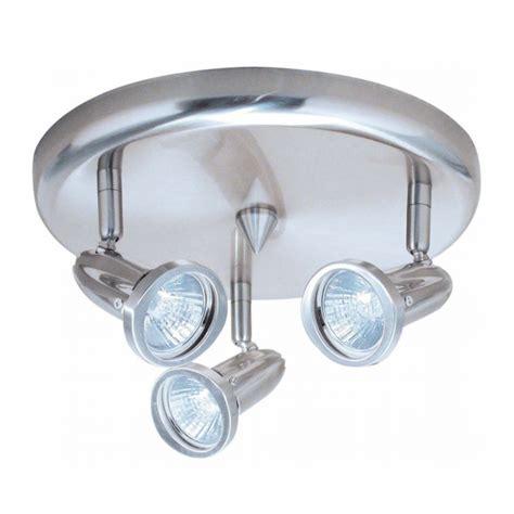 chrome ceiling fitting with three 50w gu10 halogen bulbs