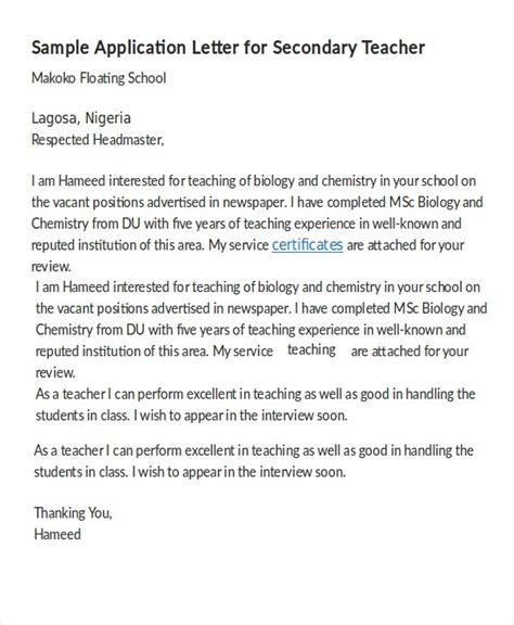 application letter for teaching in school