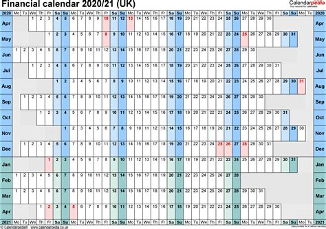 financial calendars uk format