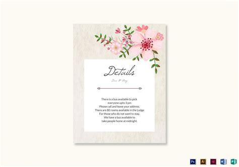 pink floral wedding details card design template  psd