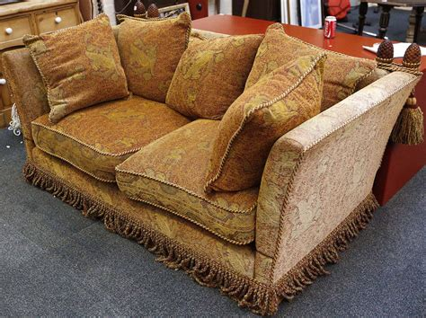 Knole Sofa, Red Damask, Woven Fabric With Golden Gryphon