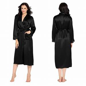 22 momme lacey cuff long silk robe With robe de chambre satin