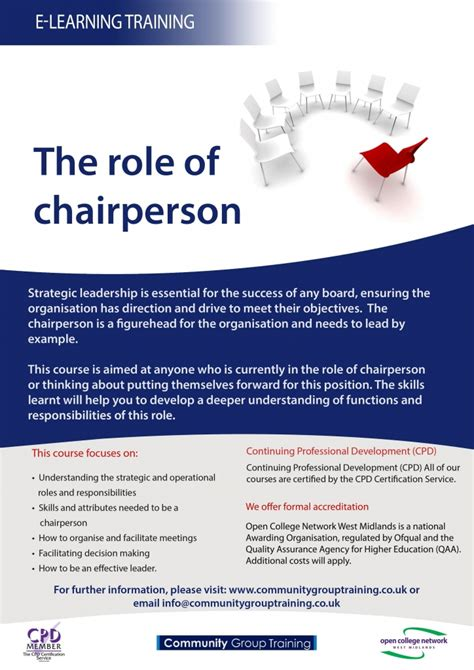 Role Of Chairperson Training For Community Groups
