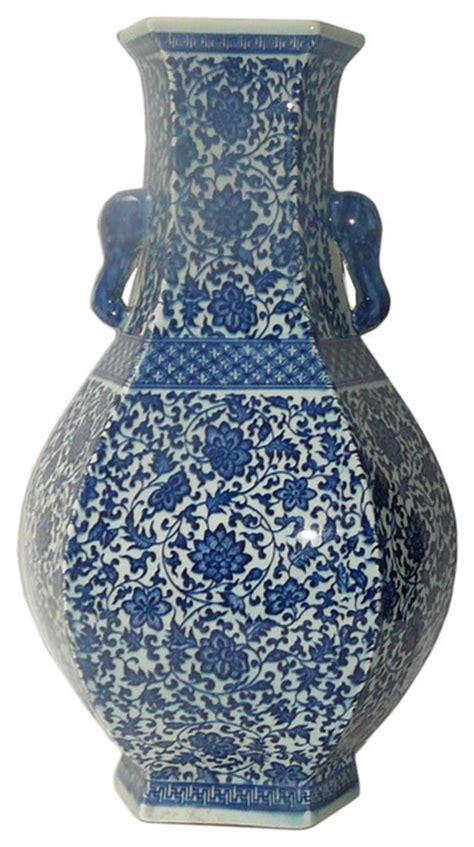 chinese blue white porcelain hexagon lotus flower vase
