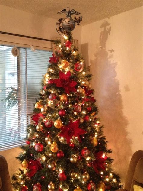 marine corp christmas tree ega as topper christmas tree