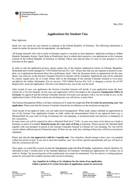 Cover Letter For Student Visa Application - Cover letter