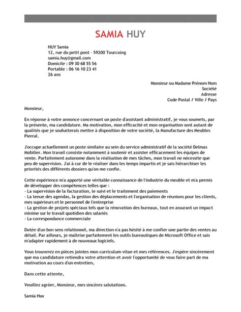 licence pro cuisine lettre de motivation assistant administratif exemple