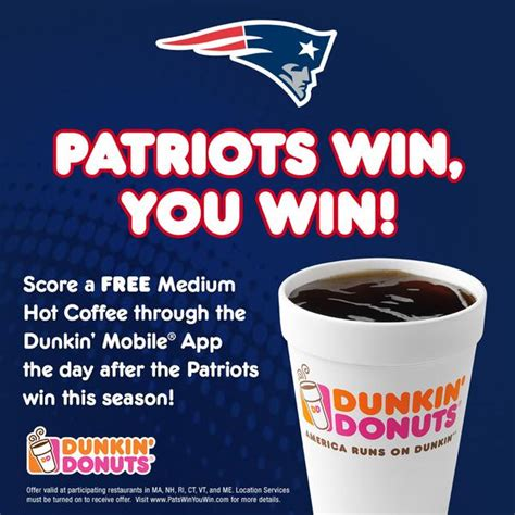 Dunkin' donuts offers guests a free medium iced coffee all day on monday, aug. What Can You Get for FREE when the New England Patriots Win?