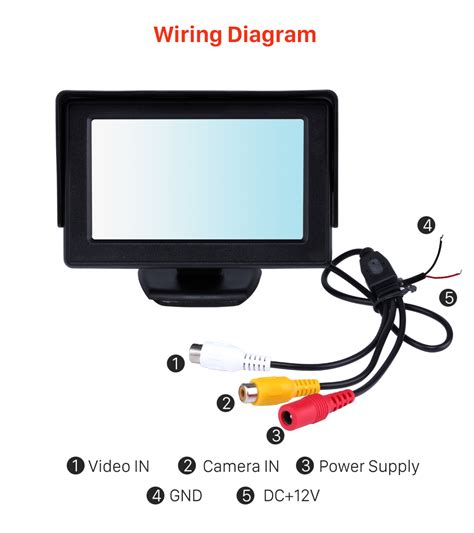 Car Monitor Wiring Diagram by 4 3 Inch Hd Digtal Tft Lcd Monitor Display With Backup