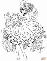 Coloring Pages Woman Adults Printable 1950s Adult American Books Colouring Sheets Animal Supercoloring Clothing Creative 40s Fairy Jewelry Painting Outline sketch template