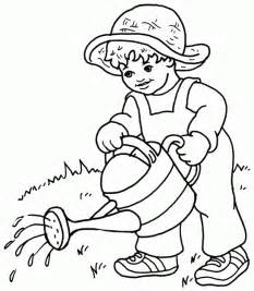 watering plants free printable coloring pages