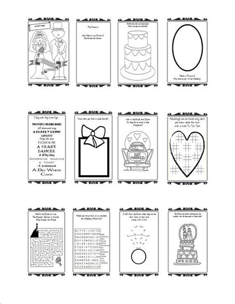 wedding activity book printable customizable wedding