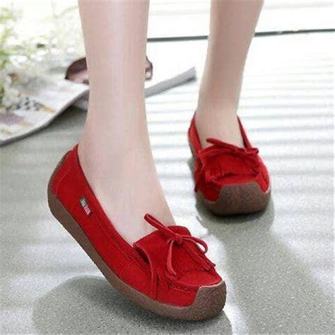jual sepatu terbaru wanita flat shoes korean style warna merah maroon keren f217 sandal