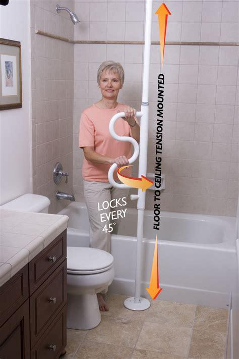 Adjustable Bathroom Safety Pole With Curved Grab Bar