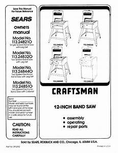 Craftsman 113248210 User Manual Band Saw Manuals And