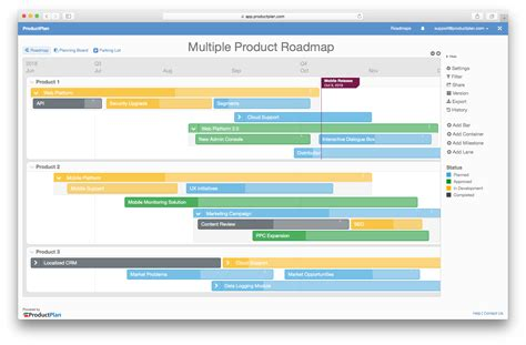 create base templates for multiple multiple product roadmap template
