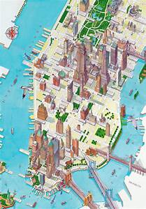 Plan De Manhattan : large detailed panoramic drawing map of lower manhattan ny ~ Melissatoandfro.com Idées de Décoration