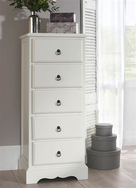 Bedroom Drawers White by 5 Drawer Tallboy Antique White Narrow Chest Of