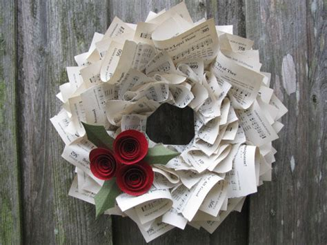 contemporary christmas wreaths christmas holly hymnal wreath by the ruffled page contemporary wreaths and garlands by etsy