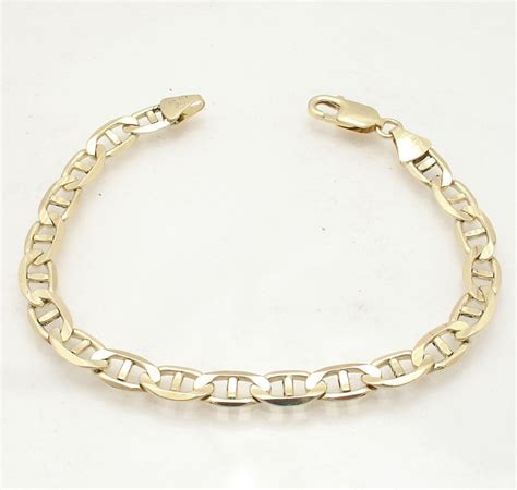 """825"""" 7mm Mens Gucci Mariner Link Bracelet Real Solid 14k. Toddler Bangle Bracelets. Beach Ankle Bracelets. Golden Diamond. Bridal Bangles. Tassel Necklace. Silicone Rubber Bracelet. 18 Karat Gold Wedding Rings. Recycled Platinum"""