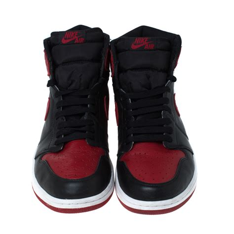 Nike Black And Red Leather Air Jordan 1 Retro High Top