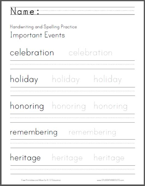 important events handwriting and spelling practice worksheet