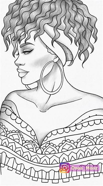 Coloring African Printable Colouring Portrait Drawing Adult