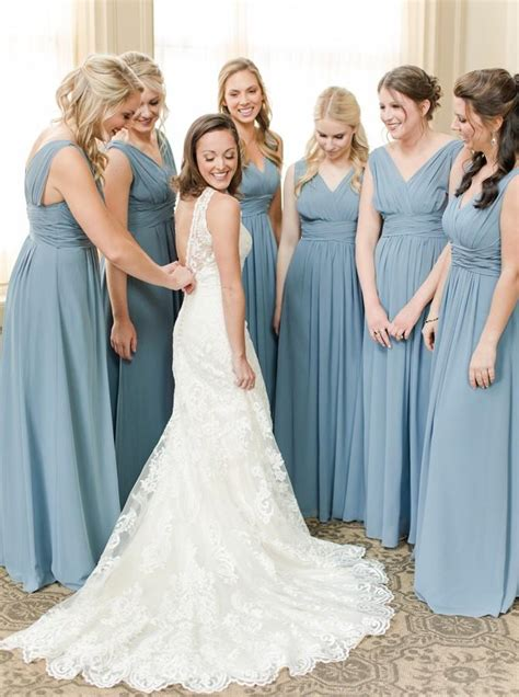 Buy Dusty Blue A-Line V-Neck Chiffon Bridesmaid Dresses ...