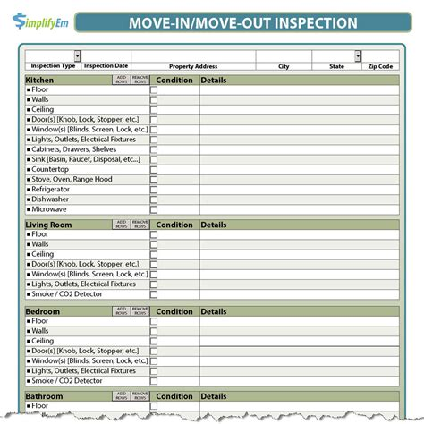 Apartment Move In Inspection Checklist by Rental Inspection