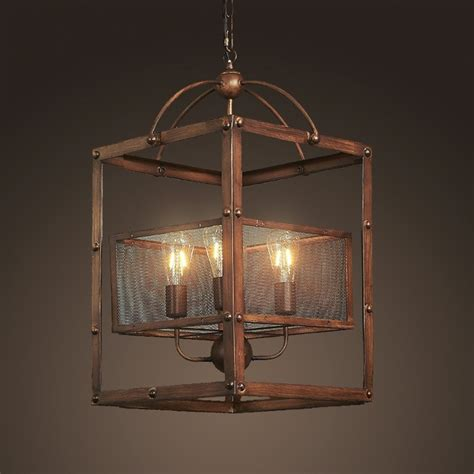 industrial metal rectangular  light mesh shade rustic lantern kitchen foyer pendant light