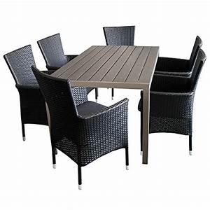 Sitzgarnitur Garten Rattan : 7tlg sitzgarnitur terrassenm bel set aluminium polywood non wood tisch champagner 150x90cm 6x ~ Indierocktalk.com Haus und Dekorationen