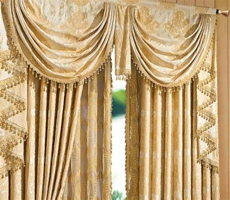 heavy textured jacquard floral waterfall valance